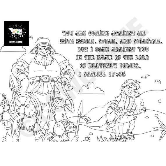 Kids Sunday School David and Goliath Coloring Page Bible Coloring Kids 1  Samuel 17:45 Verse Coloring Page Printable Coloring Page PDF