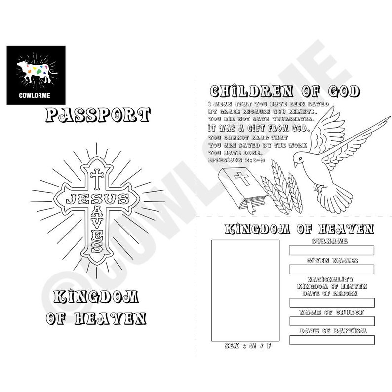 Printable Coloring Page PDF Printable Coloring Sheet PDF Passport of Heaven  Coloring Page Christian Coloring Kids Sunday School Lesson