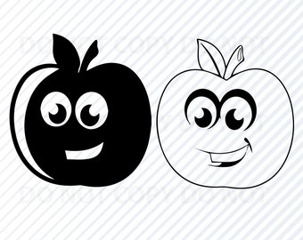 Apple Outline Svg Etsy