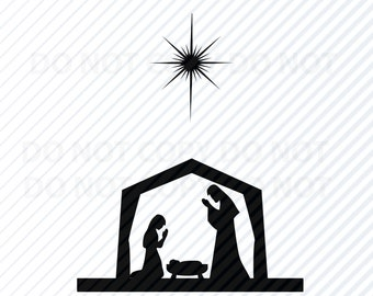 Christmas Nativity SVG Silhouette