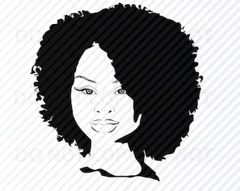 African American Woman Svg Black Woman Afro Silhouette