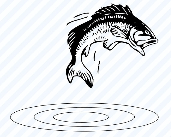 Download Bass Fish Jumping Svg File For Cricut Image Fishing Etsy