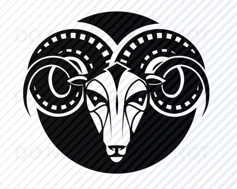87c06631054d4 Aries SVG Files For Cricut Black & White Zodiac Vector   Etsy