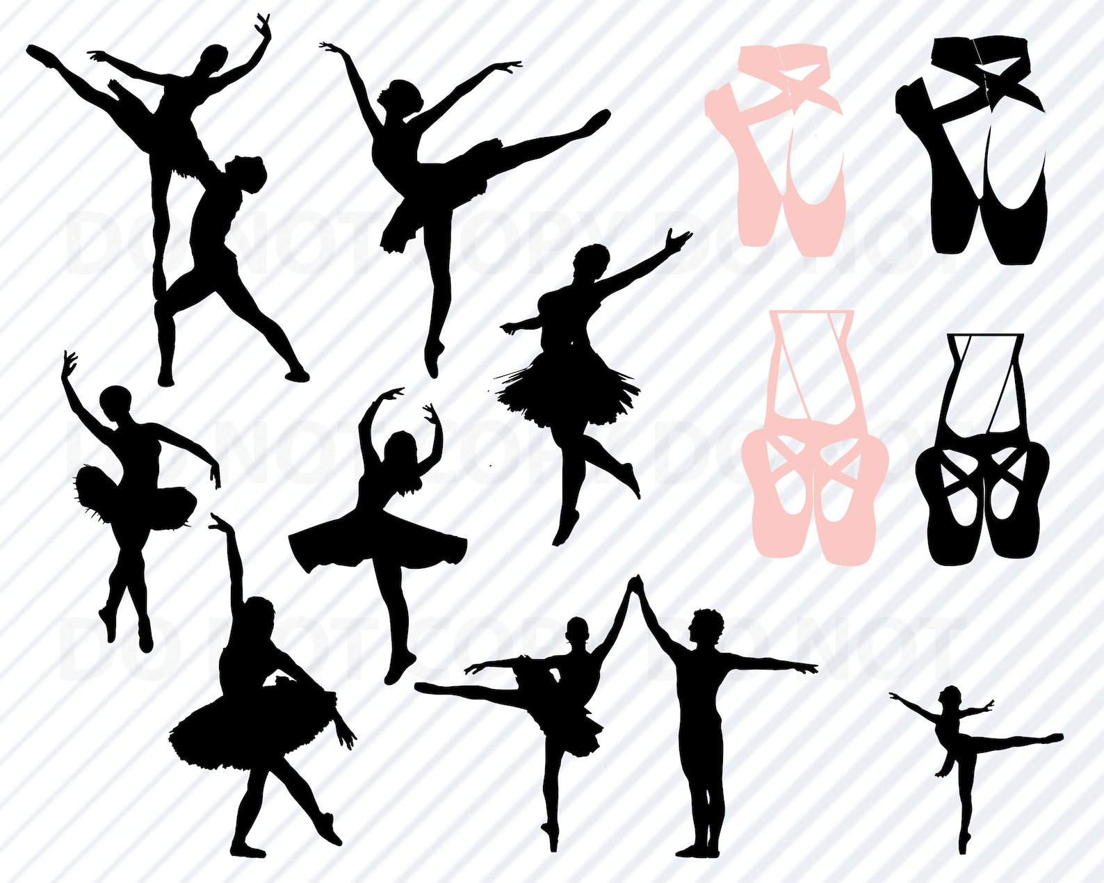 ballet svg ballet svg bundle silhouette clip art ballet shoes svg files for cricut- eps, png, dxf clipart girls dance images bal