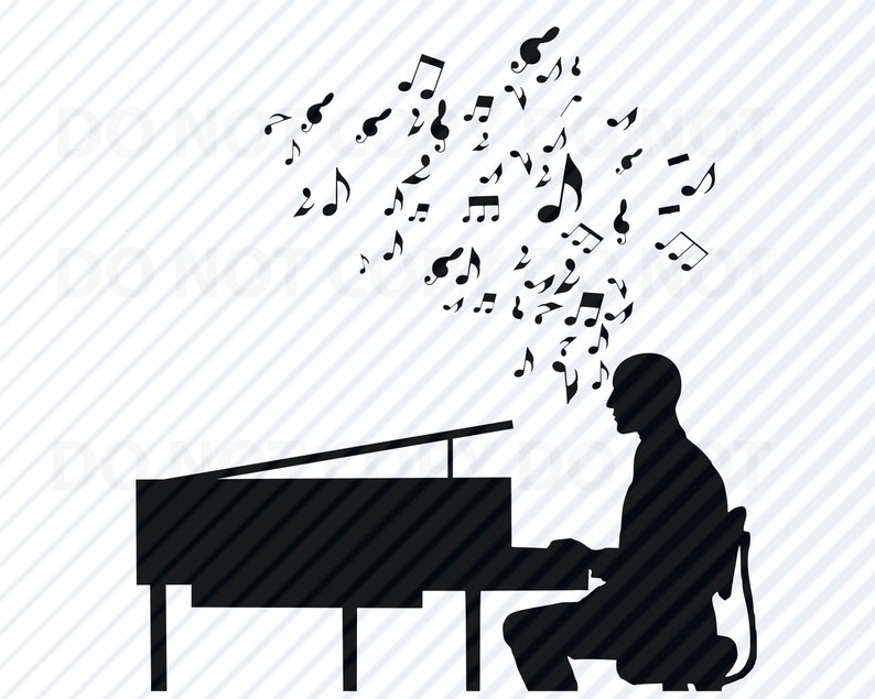 Piano Svg Files For Cricut Silhouette Clipart Man Playing Etsy