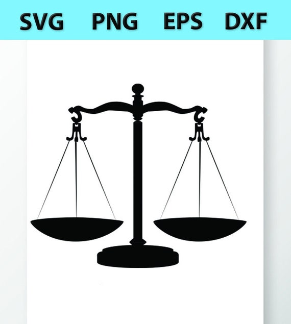 Scales Of Justice Svg Files Vector Images Clipart Balance Etsy