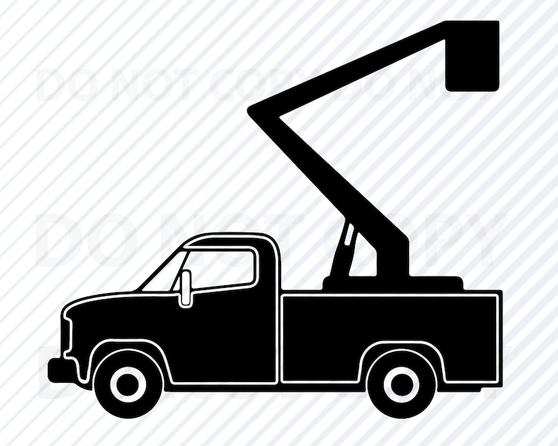 Lift Truck SVG Files, Bucket Truck Vector Images Silhouette- Clipart -SVG  File For Cricut, Boom truck Png, Eps,,Dxf Work truck svg