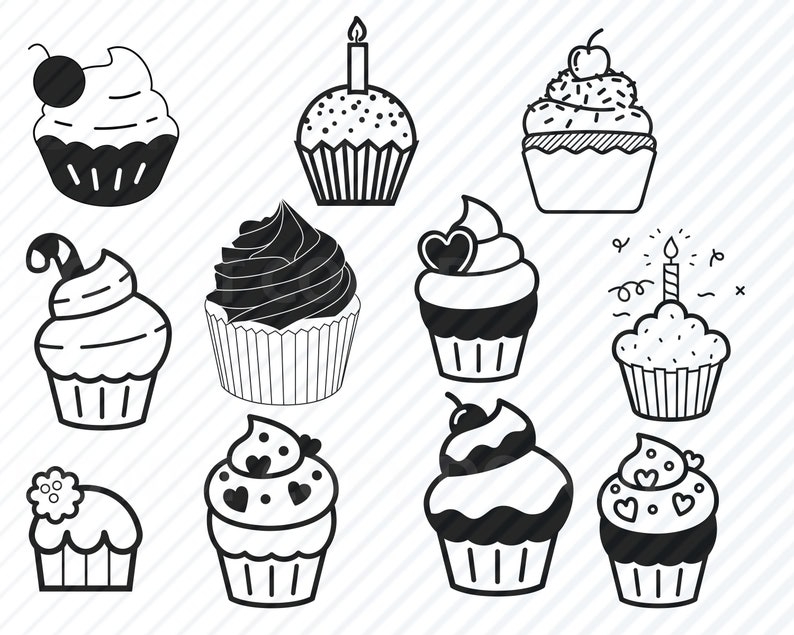 Cupcake Svg Files For Cricut Food Svg Clipart Cupcake