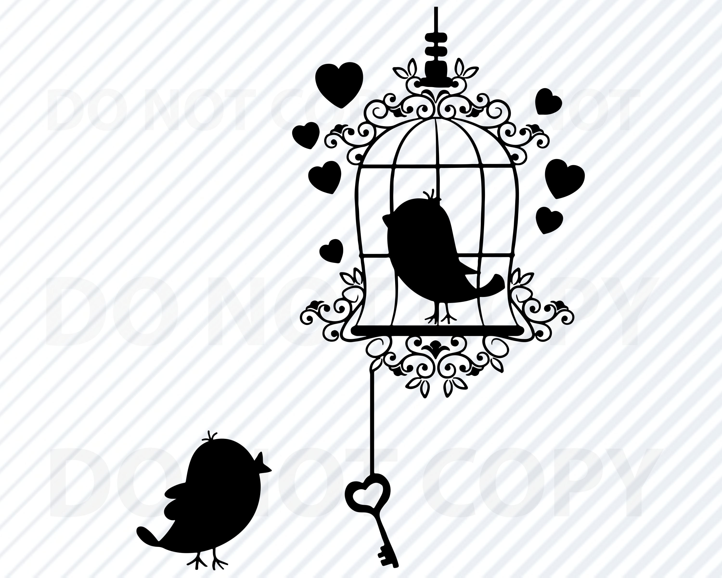 Love Birds SVG File Bird Cage Vector Images Clipart - SVG file For Cricut -  Bird Silhouettes - Eps, Love bird Png ,Dxf Valentine Clip Art