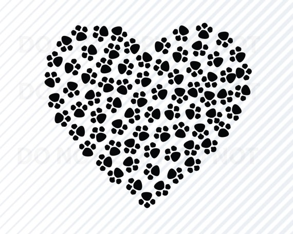 dog paw print heart svg files dogs vector images clipart etsy rh etsy com Paw Print Drawing Cool Dog Clip Art