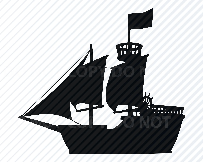 Pirate Ship 3 SVG File For Cricut SVG Silhouette Clipart