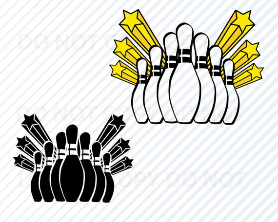 Bowling Logo Svg File For Cricut Bowling Pins Vector Images Etsy