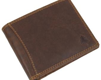 05bcdf56eda0d Greenwood® Vintage Echt Leder RFID Schutz Geldbörse Portemonnaie  Brieftasche Sandel 4601