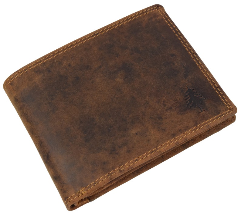 Greenwood® Vintage Echtleather RFID BLOCKING Purse Wallet Trifold Vintage  Brown 2427