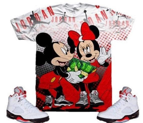 Mickey & Minnie Mouse Shirt Jordan 4 Fire Red, Jordan Bred 11