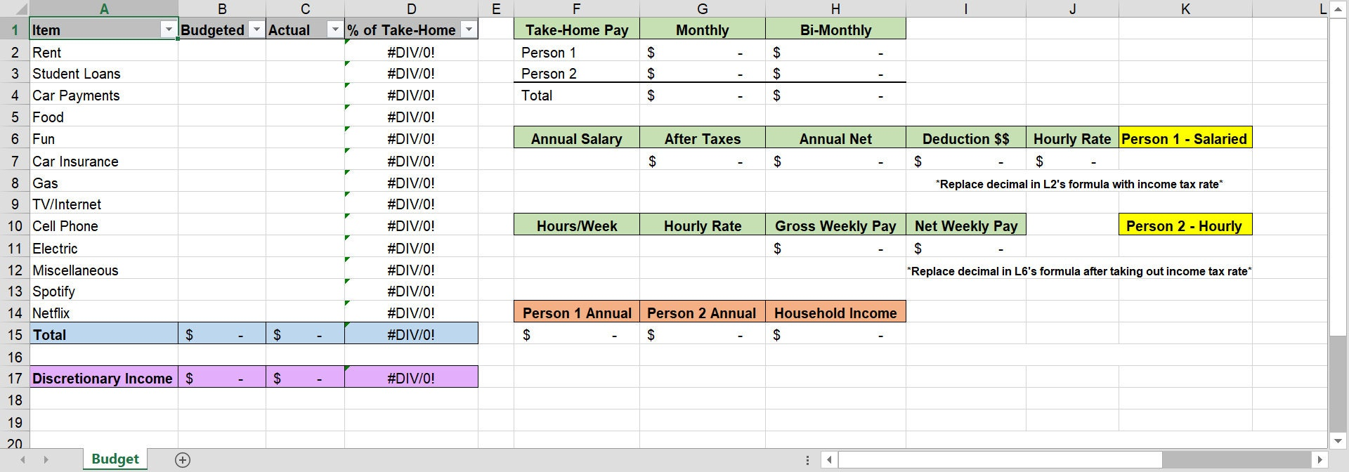 Zero Based Budget Template With Income Calculator Excel Etsy