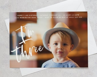 3rd Birthday Photo Invitation Boy Third With
