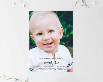 First Birthday Photo Invitation 1st With Simple