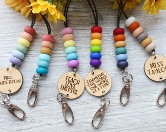 Over The Rainbow Beaded Lanyard | Keychain | Teacher, Student Teacher, College Student, Nurse | Silicone Beads Lightweight Breakaway Clasp