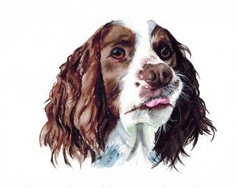 Custom watercolor pet portrait painting