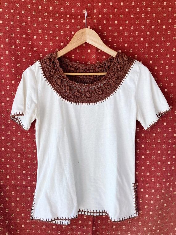 Vintage 70s crochet cotton blouse