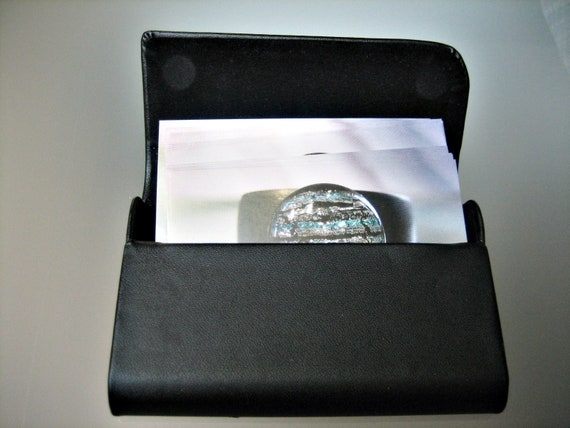 Noble Matte Black Business Card Case Magnetic Closure Faux Leather