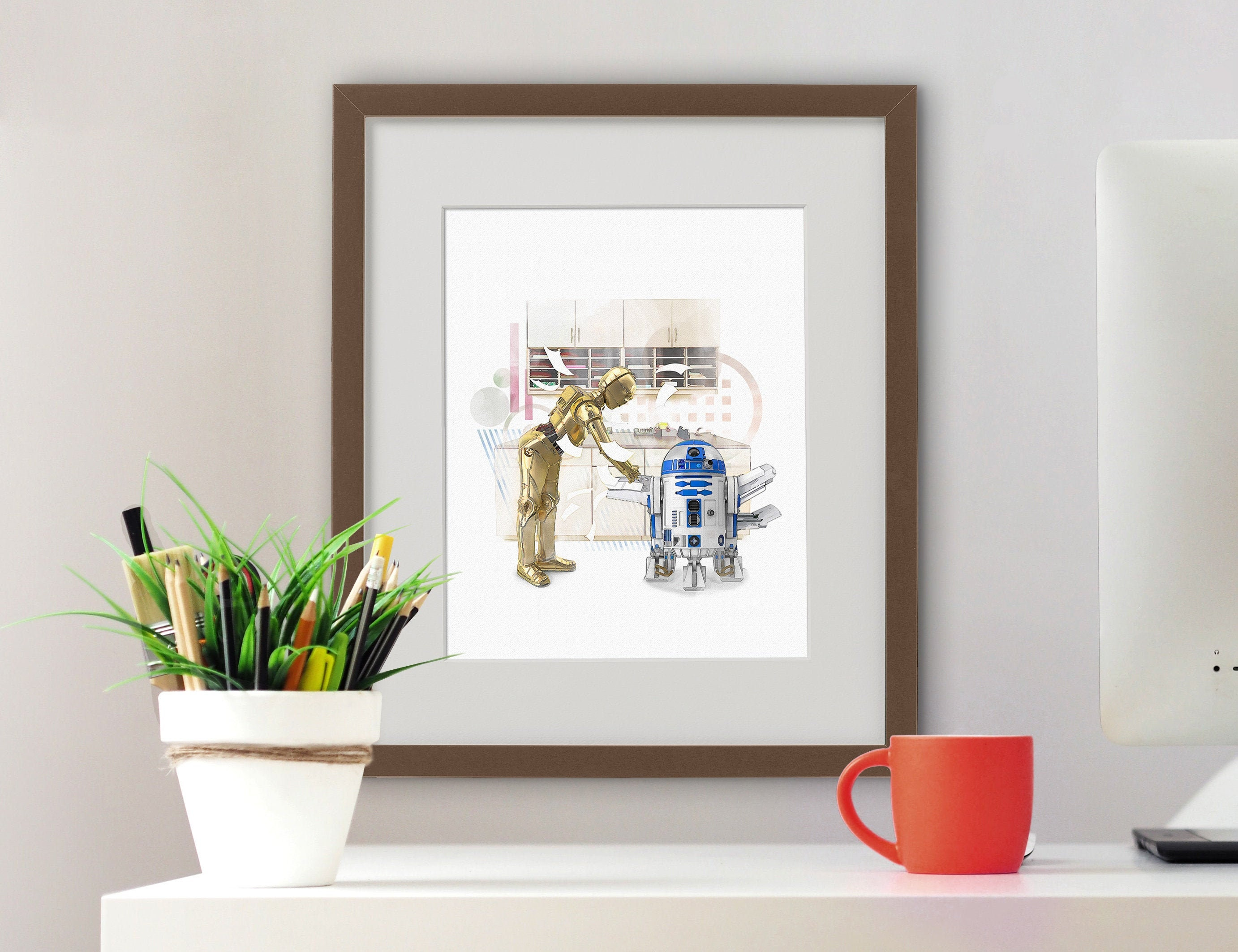 Funny Star Wars Gift Star Wars Bathroom Art Print Star Wars Decor R2d2 C3po Art Prints Art