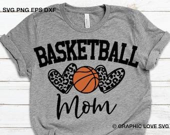 Basketball Mom Svg, Leopard Heart Svg, Leopard Print Svg, Sports Svg, Basketball Mom Shirt Svg, Love Basketball Iron On Png, Cricut