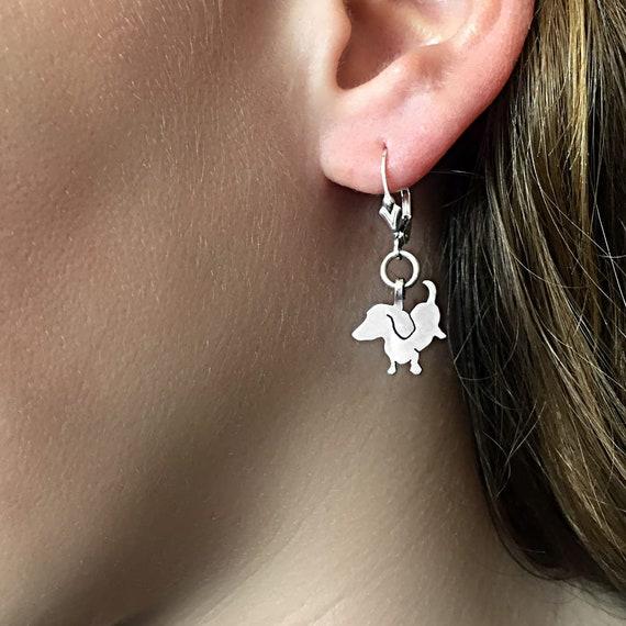 Doxie Charm Silver Dachshund Jewelry Set Dachshund Gift for Dachshund Lovers |SIT-UP Dachshund Earrings /& Pendant Necklace Set