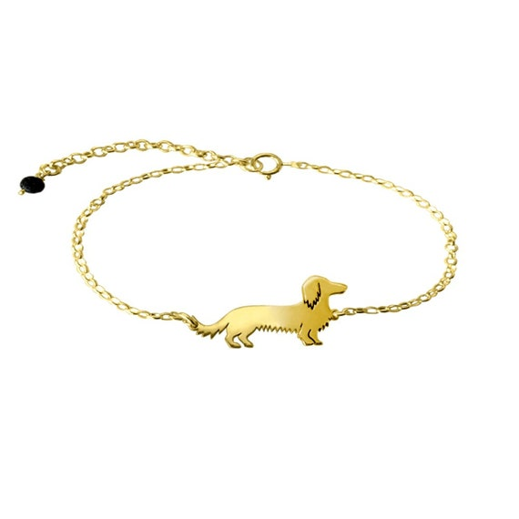 Dachshund Long Haired Brooch or Pin-Fashion Jewellery Gold Plated Stud Back