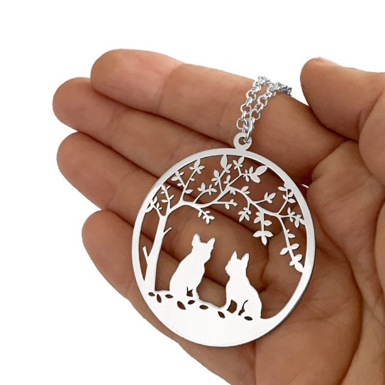 Silver  14K Gold Plated French Bulldog Tree of Life Pendant French Bulldog Gift for Frenchie Lover French Bulldog Necklace TREE OF LIFE