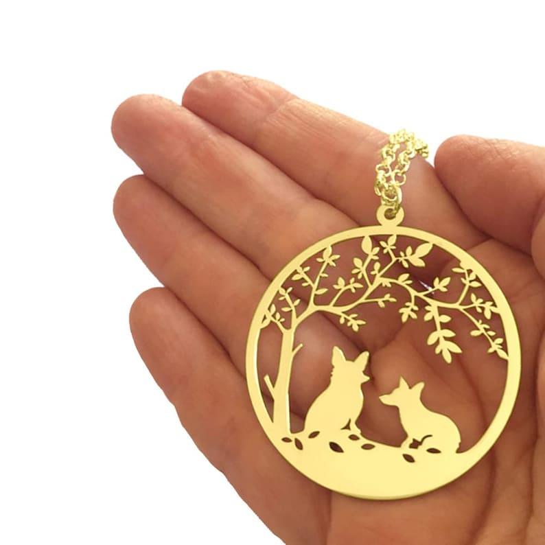 Corgi Necklace Corgi Gift for Corgi Lovers  TREE OF LIFE Silver  14K Gold Plated Corgi Tree of Life Pendant Dog Jewelry Dog Charm