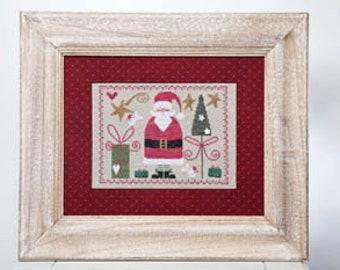 Papa Noel Santa Claus Corinne Rigaudeau Tralala Presents Christmas Tree Holiday Winter Red Green Cross Stitch Pattern