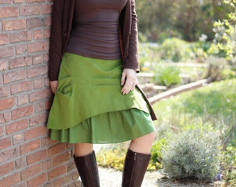 Kord-Rock Lagen-Look Rüsche grün