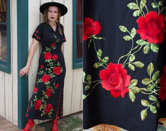 f933fd348c gorgeous vintage all over rose embroidered gucci vibes 1970s floral  statement maxi dress