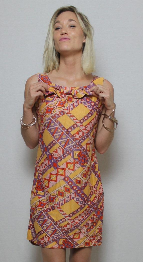 Vintage 60's Psychedelic mini Dress MOD GoGo/ Size
