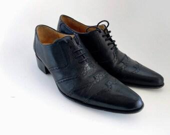 ba104d863d31a Free Lance Paris Queenie Derby black leather brogues lace up point toes mid  heels vintage EU 38