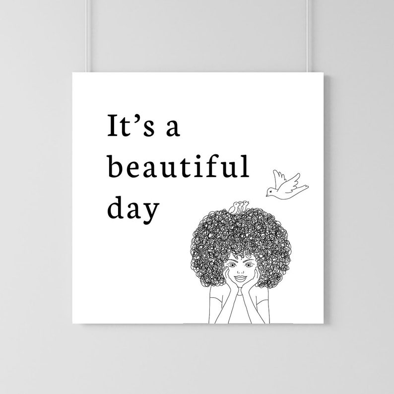 Quote And Curly Hair Illustration Print Instant Download Wall Etsy