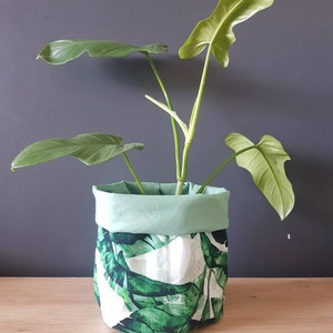 Fabric plant coverbasket Small Plant cozy reversible. Pot plant cover