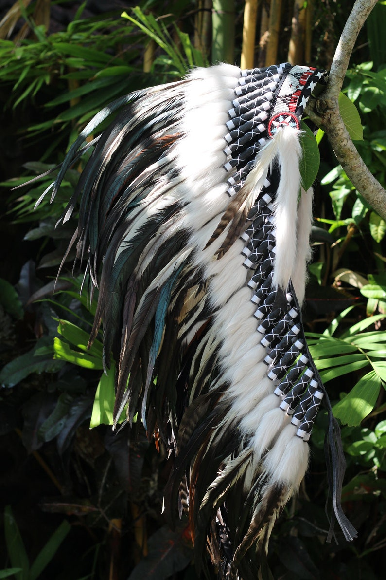 Medium Indian Headdress Replica made with real white green and black rooster feathers