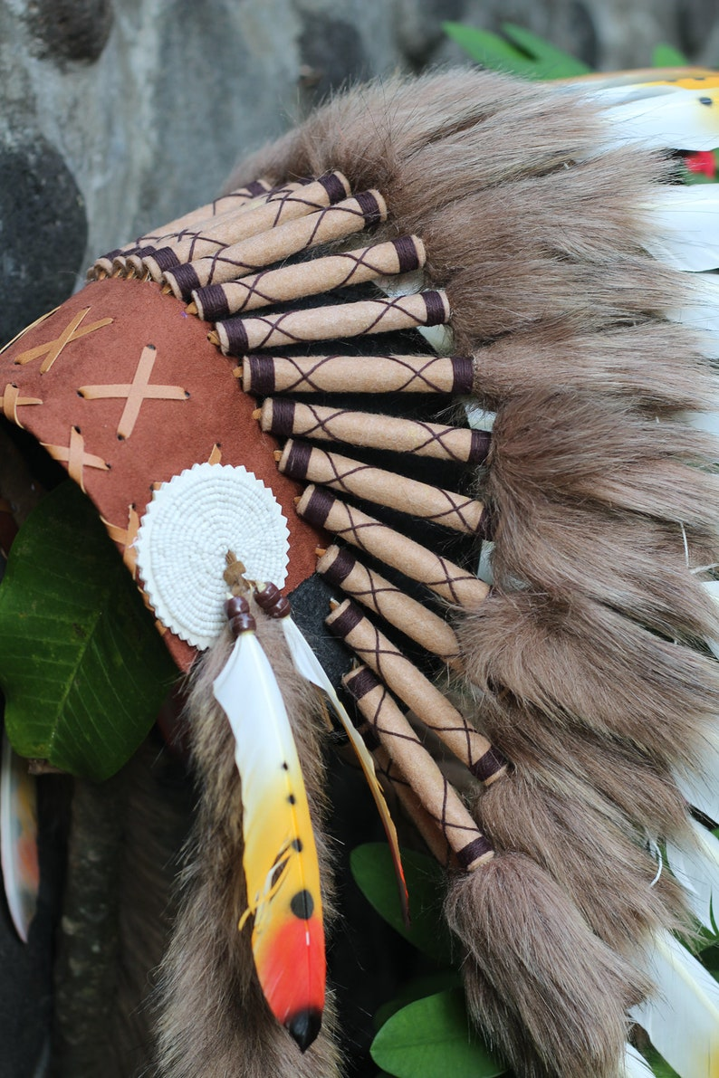 Child 2 to 5 years 53cm20.9inch Indian Headdress Replica made with red yellow and black swan feathers
