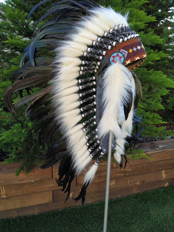 Medium Indian Headdress Replica made with real natural rooster feathers