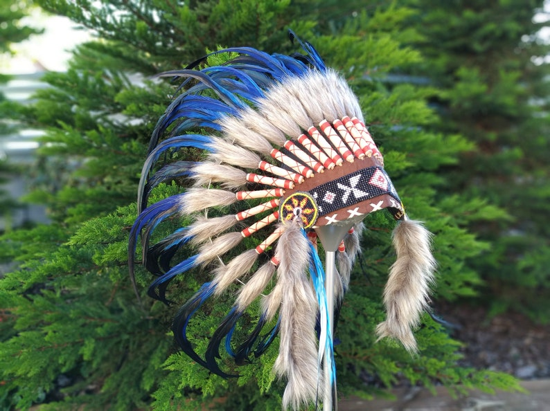 Short blue Indian Headdress Replica made with blue dyed rooster feathers and front beaded work
