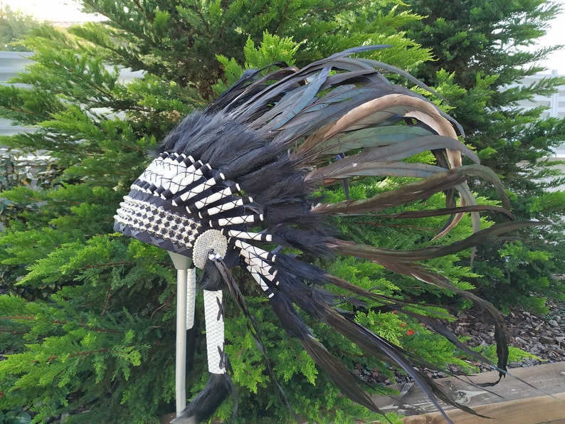 black synthetic fur and metal beaded band. Short Indian Headdress Replica made with green natural rooster feathers