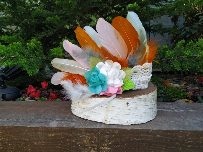 Baby 9 to 18 month 47cm18.5 inch inch Feathers Baby Crown made with Rainbow feathers and colorful flowers