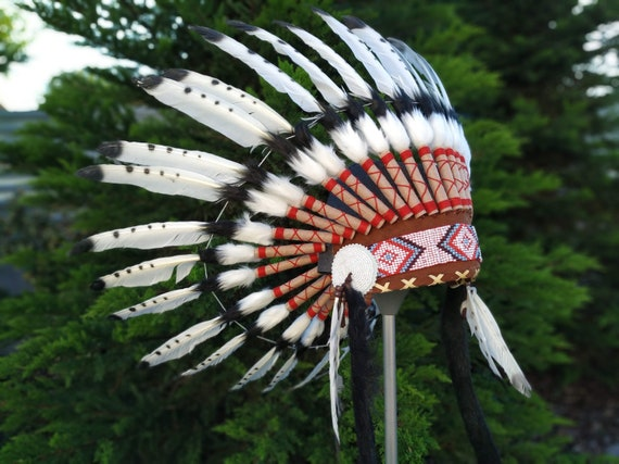Short Indian Headdress Replica made with Black painted White Swan feathers with white beadwork in the front