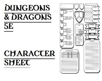 graphic about 5e Character Sheet Printable referred to as 5e temperament sheet Etsy