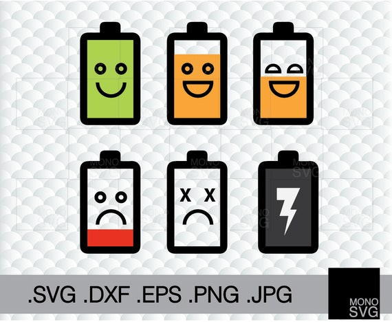 Battery Life Icons Svg Instant Download Charging Clipart Dxf Etsy