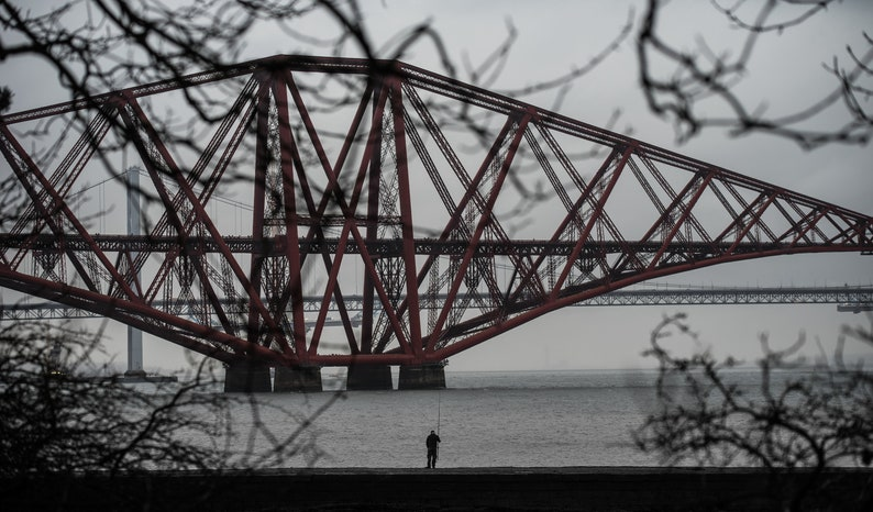 Scottish landscape photography Forth Rail Bridge fisherman image 0