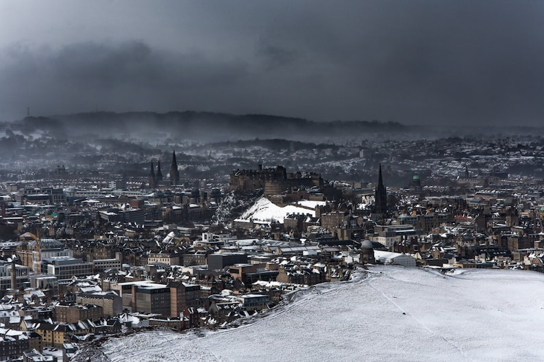 Scottish landscape photography Edinburgh in winter snowscape image 0